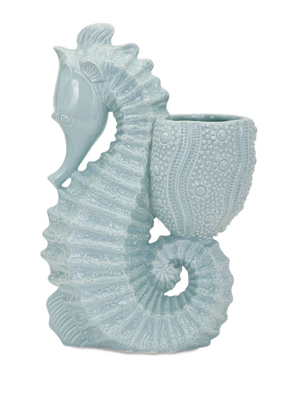 IMAX Home 13525 Seahorse Ceramic Planter Home Decor Planters