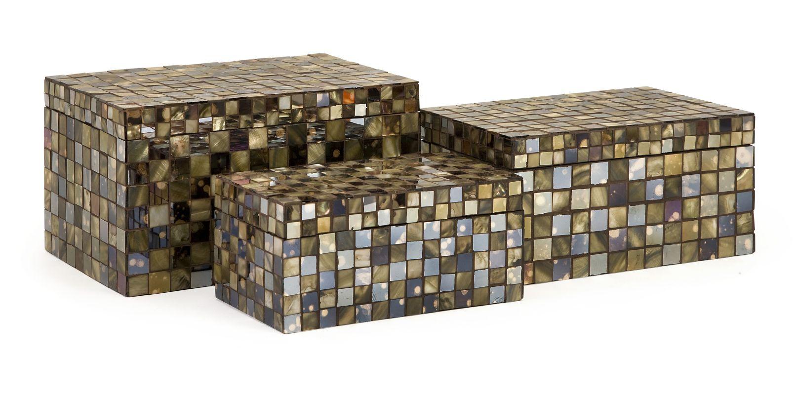 IMAX Home 1973-3 Noida Mosaic Boxes - Set of 3 Home Decor Boxes