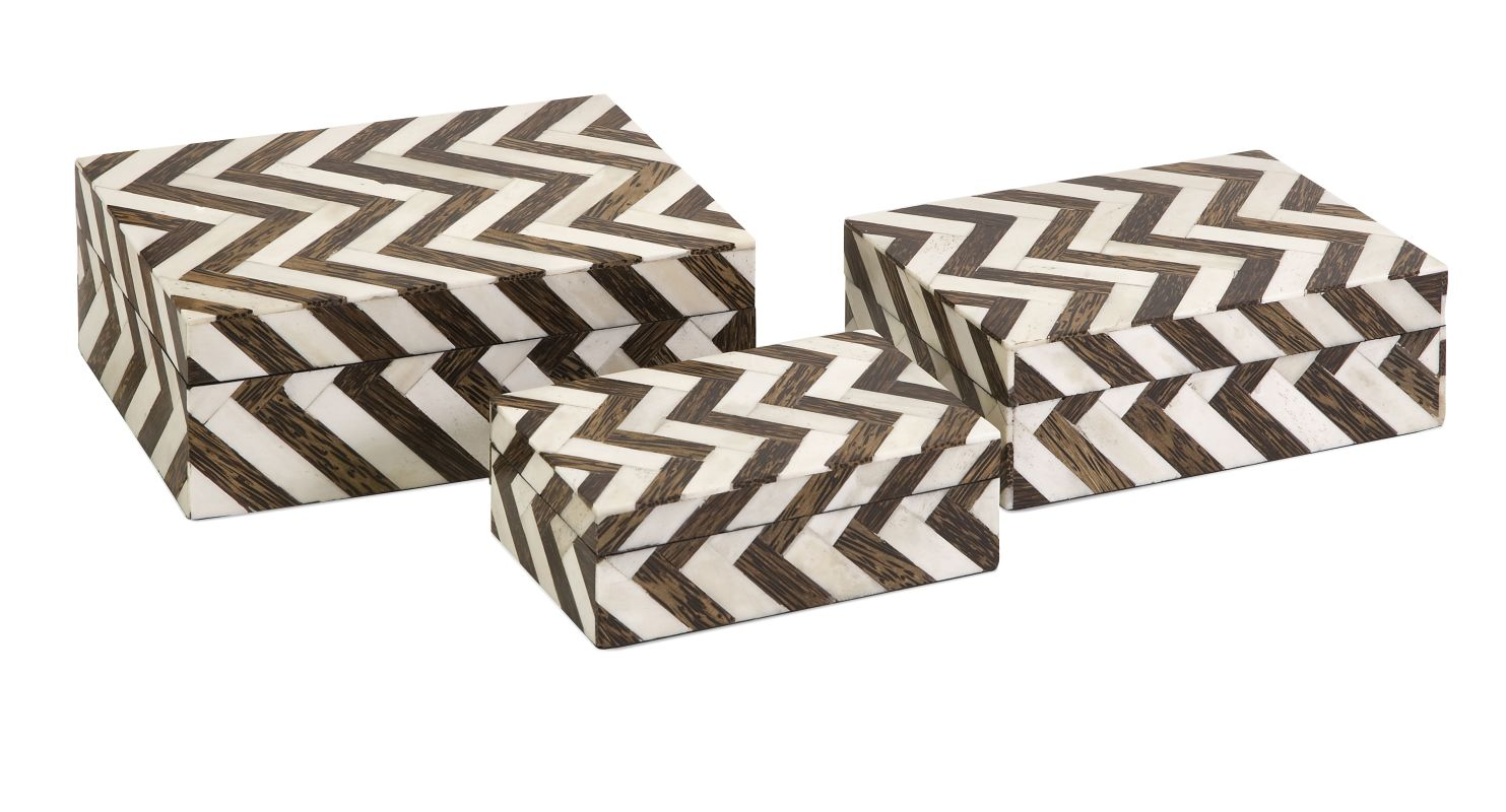 IMAX Home 19911-3 Zig Zag Bone Inlay Boxes - Set of 3 Home Decor