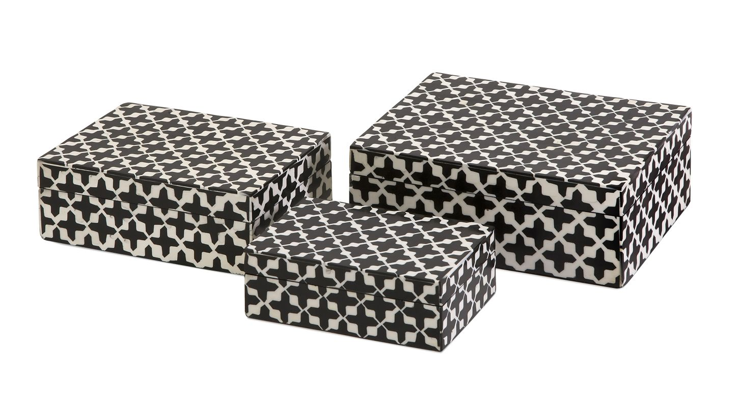 IMAX Home 19918-3 Lizzie Bone Boxes - Set of 3 Home Decor Boxes