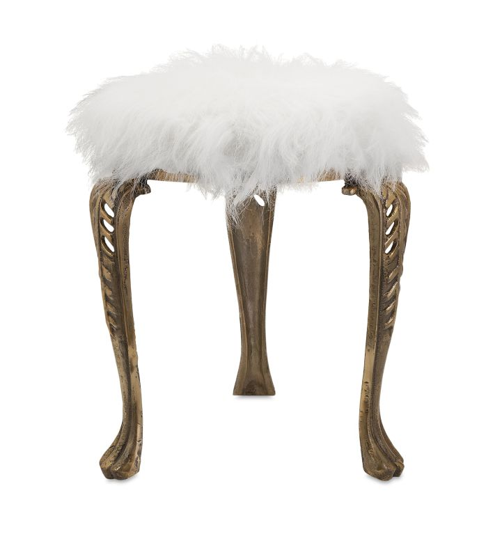 IMAX Home 19980 Nikki Chu Neely White Fur Stool Furniture Stools