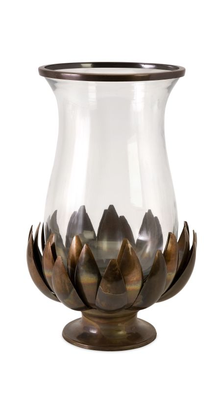 IMAX Home 20033 Lotus Burned Copper Hurricane Home Decor Candle