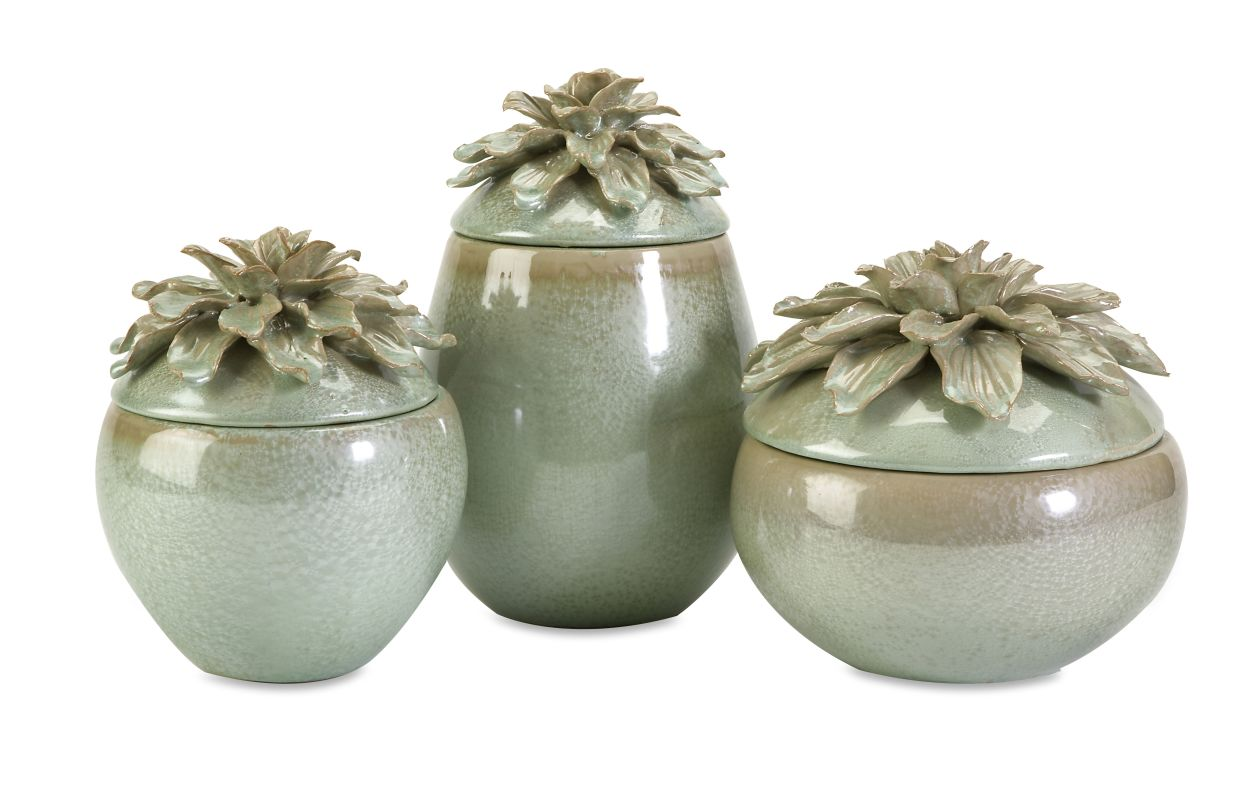 IMAX Home 25171-3 Tilly Floral Lidded Vases - Set of 3 Home Decor