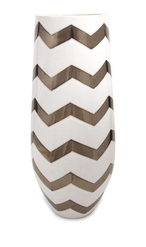 IMAX Home 25211 Bronze Metallic Chevron Vase Home Decor Vases