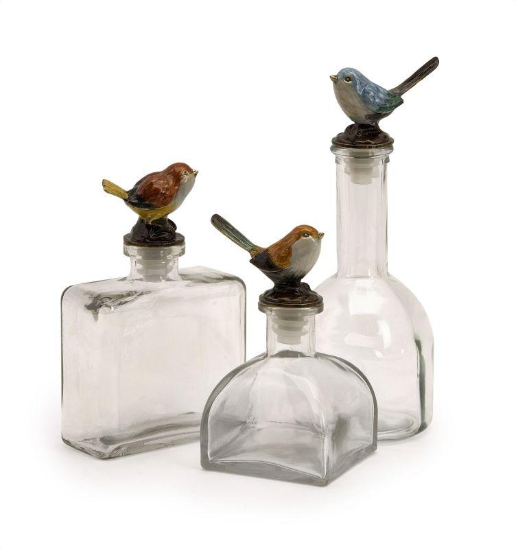 IMAX Home 27503-3 Maco Bird Bottles - Set of 3 Home Decor