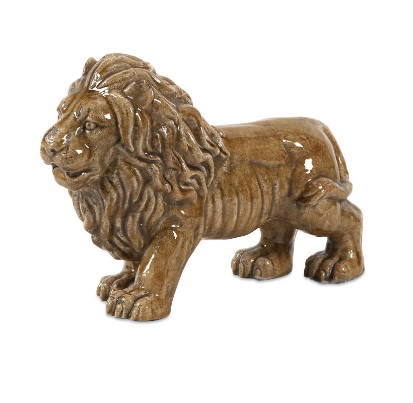 IMAX Home 40299 Baton Ceramic Lion Statuary Home Decor Statues &
