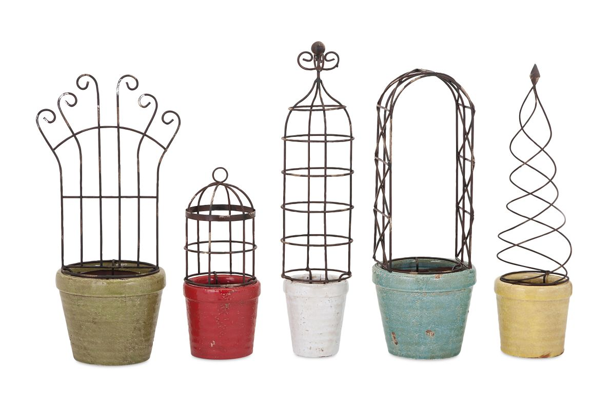 IMAX Home 40306-5 Covington Planters With Iron Trellis - Set of 5 N/A