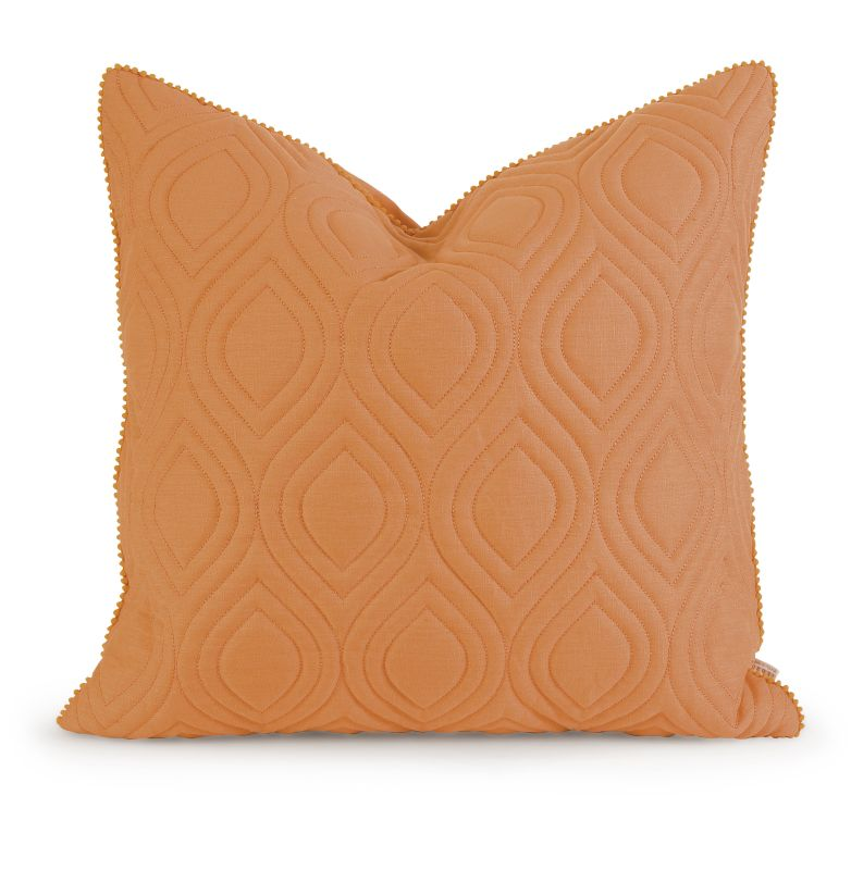 IMAX Home 42155 IK Kavita Orange Linen Quilted Pillow with Down Fill