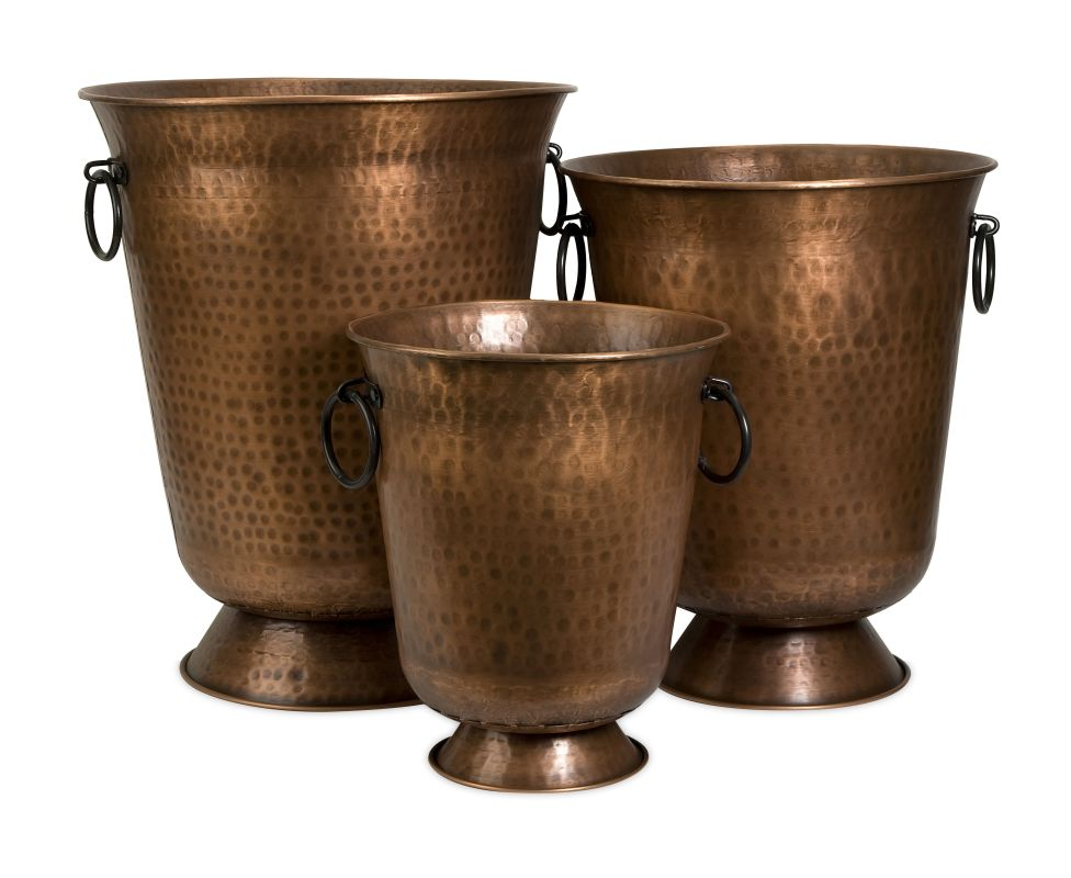 IMAX Home 44186-3 Meziere Copper Plated Planters - Set of 3 Home