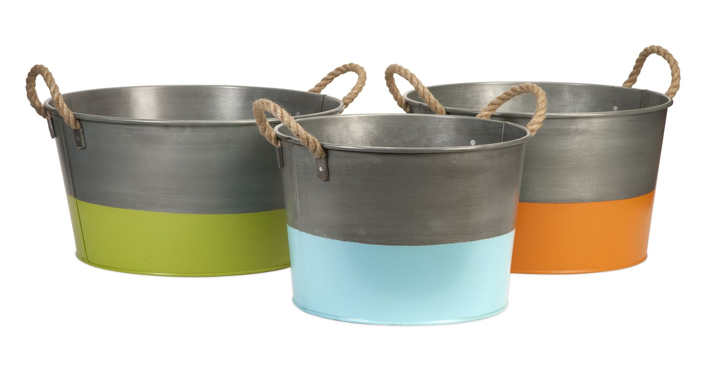 IMAX Home 44238-3 Chelsey round Tubs - Set of 3 Home Decor Buckets