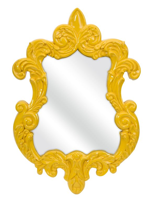 """IMAX Home 47381 30"""" x 21"""" Finely Yellow Baroque Wall Mirror Home"""