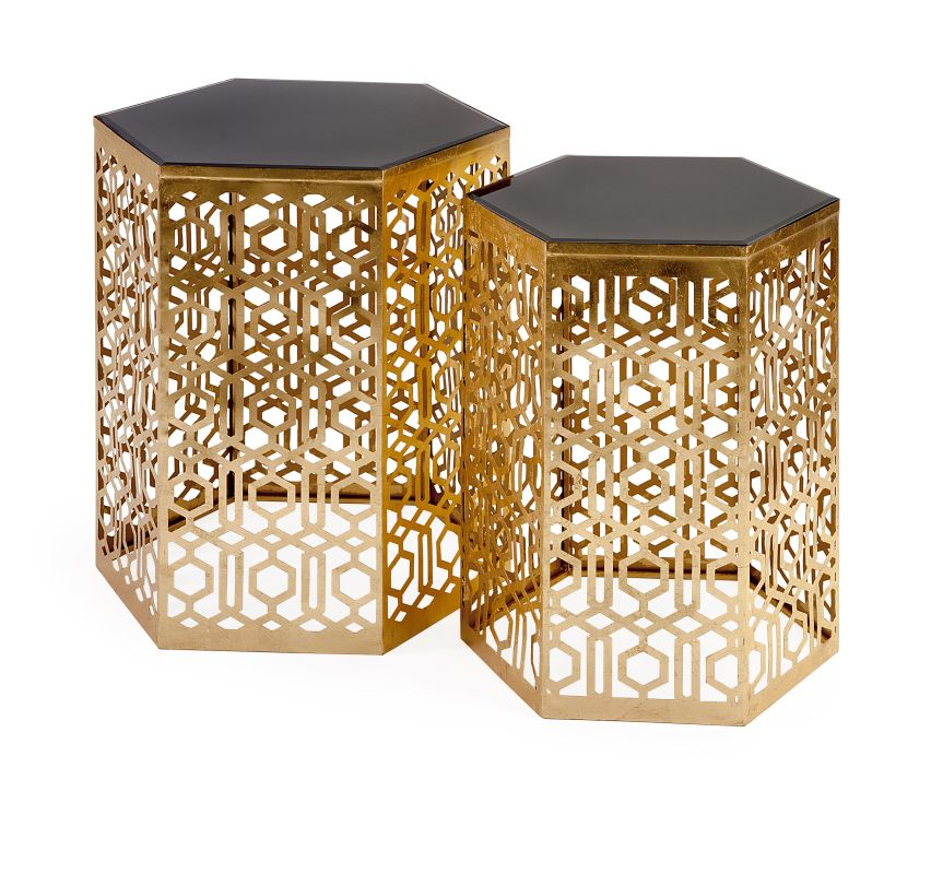 IMAX Home 47571-2 Nikki Chu Lancaster Gold Mirror Table - Set of 2 N/A