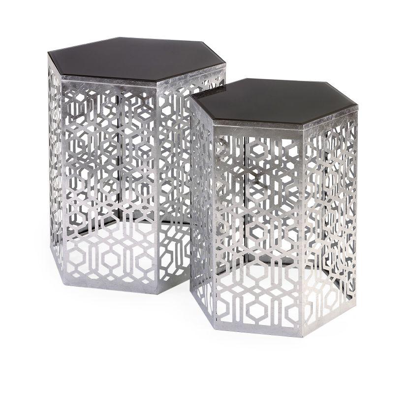 IMAX Home 47574-2 Nikki Chu Lancaster Silver Mirror Table - Set of 2
