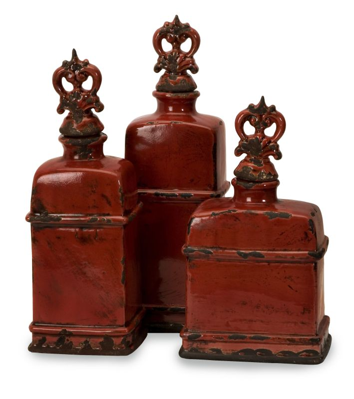 IMAX Home 50137-3 Garnet Bottles with Finials - Set of 3 Home
