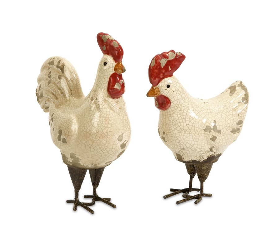 IMAX Home 50297-2 Quinn Roosters - Set of 2 Home Decor Statues &