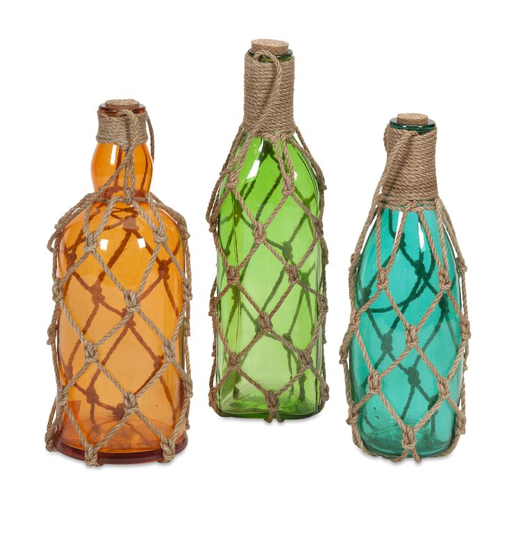 IMAX Home 50750-3 Williams Glass Bottles with Jute Hangers - Set of 3
