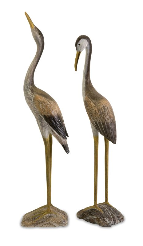 IMAX Home 50894-2 Reeds Wood Cranes - Set of 2 Home Decor Statues