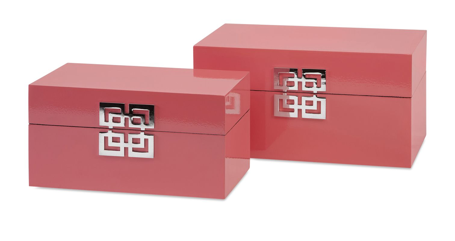 IMAX Home 52031-2 Danes Pink Boxes - Set of 2 Home Decor Boxes and