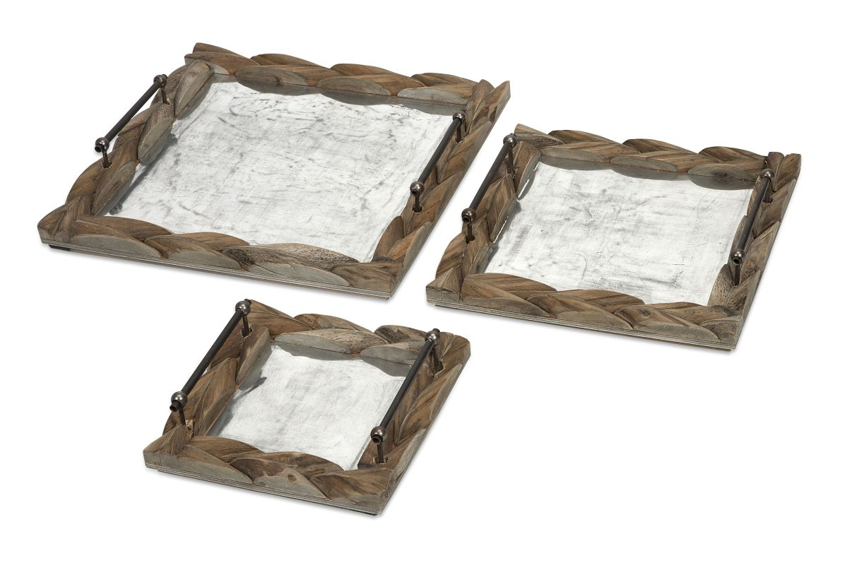 IMAX Home 56374-3 Santiago Wooden Trays - Set of 3 Home Decor