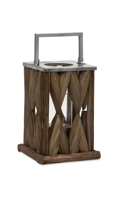 IMAX Home 56381 Santiago Wooden Lantern - Small Home Decor Candle