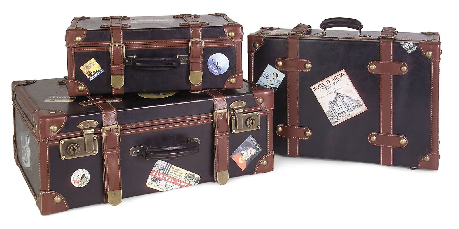 IMAX Home 5972-3 Labeled Suitcases - Set of 3 Home Decor Boxes and