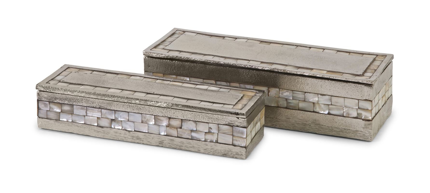IMAX Home 60985-2 Haines Aluminum Mother of Pearl Boxes - Set of 2 N/A