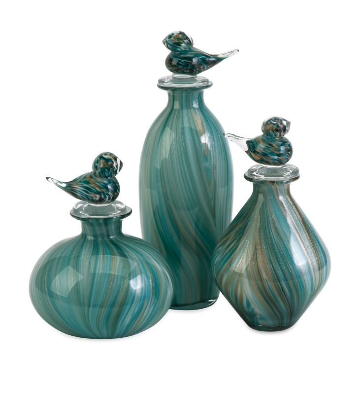 IMAX Home 63100-3 Bellatrix Glass Bird Stopper Bottles - Set of 3 N/A