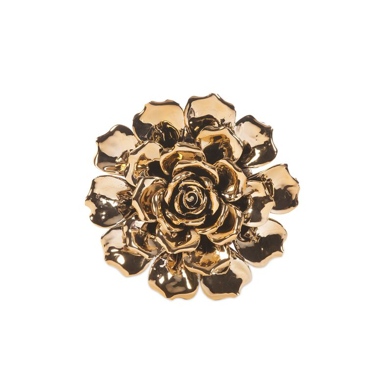 "IMAX Home 64233 9.25"" Metallic Small Ceramic Wall Flower Home"