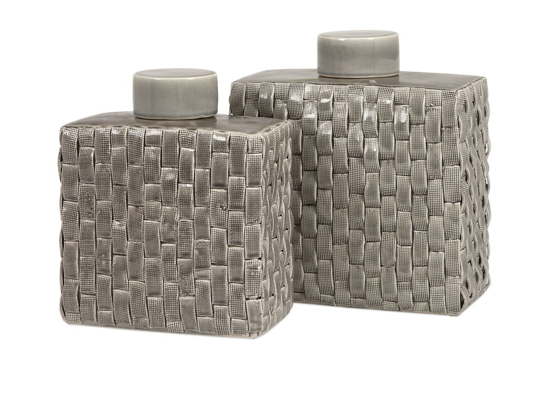 IMAX Home 64243-2 Sophie Woven Ceramic Canisters - Set of 2 Home
