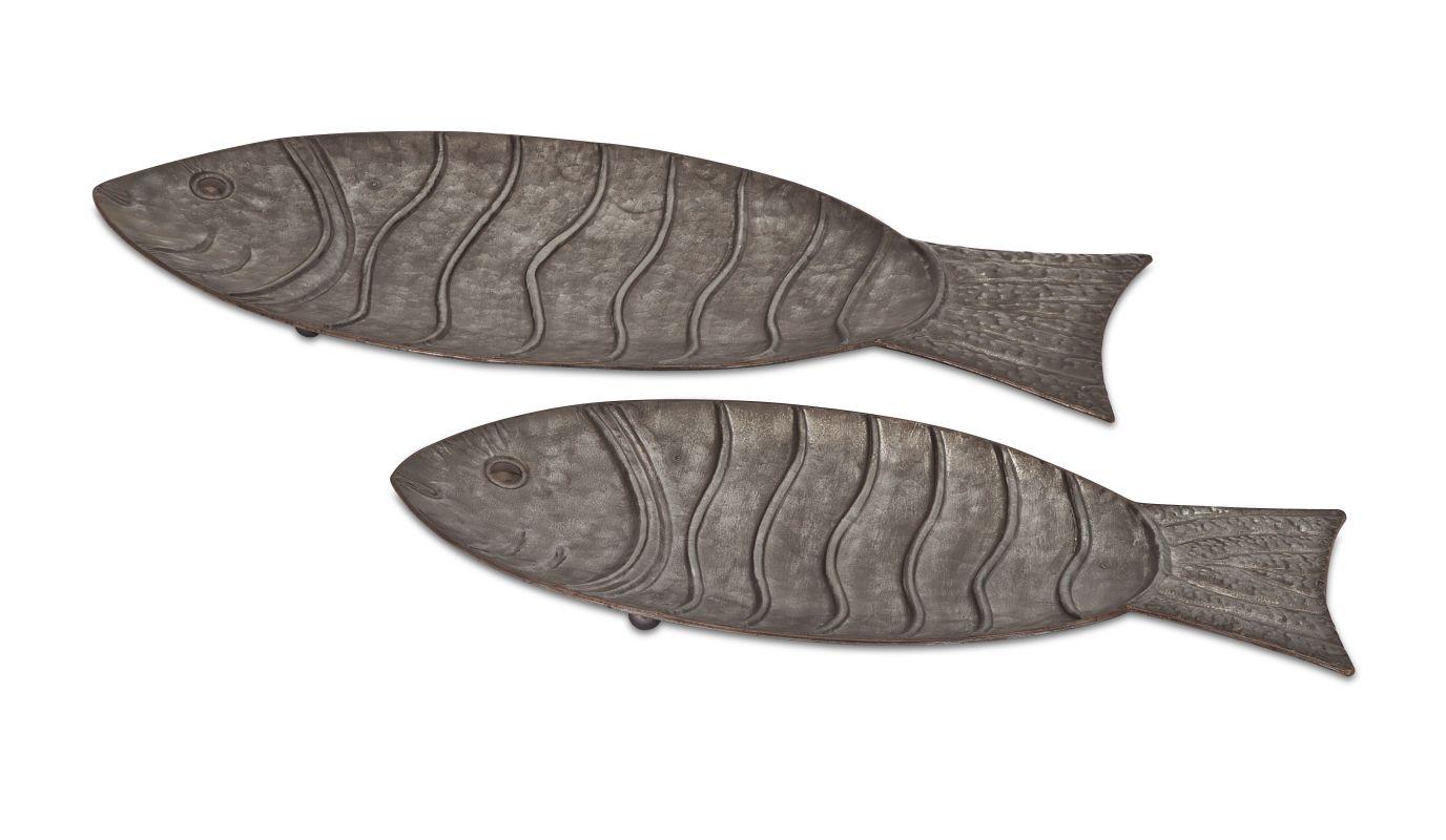 IMAX Home 65237-2 Carino Galvanized Fish Trays - Set of 2 Home