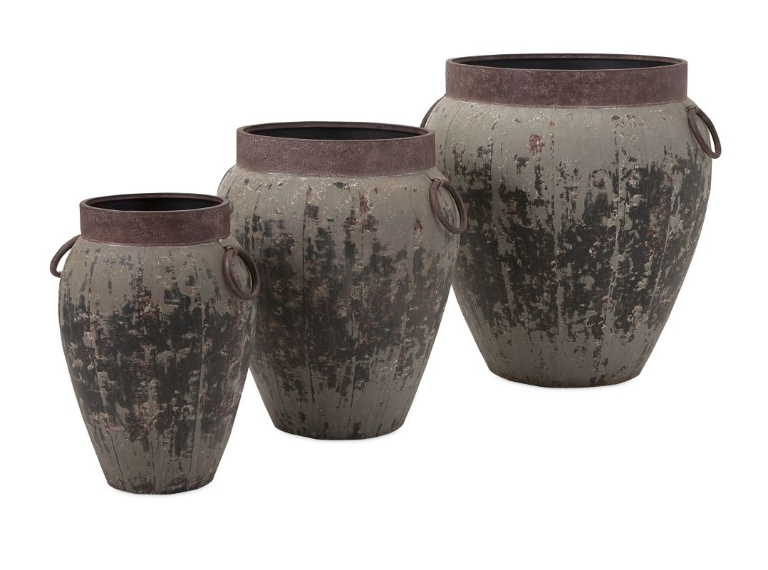IMAX Home 65245-3 Argetile Rustic Planters - Set of 3 Home Decor