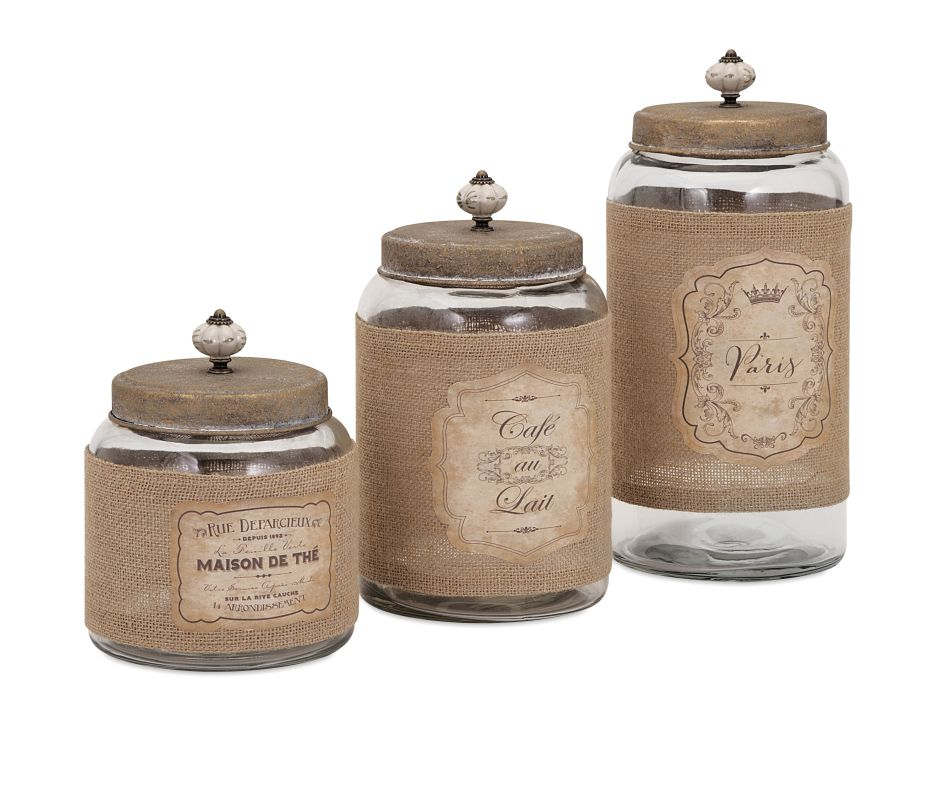 IMAX Home 65260-3 Carley Lidded Glass Jars - Set of 3 Home Decor