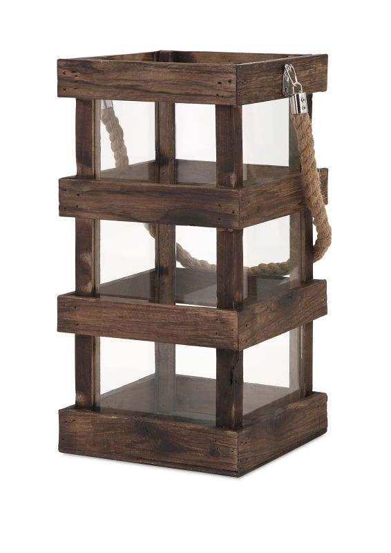 IMAX Home 65286 Nima Wood Lantern - Tall Home Decor Candle Holders