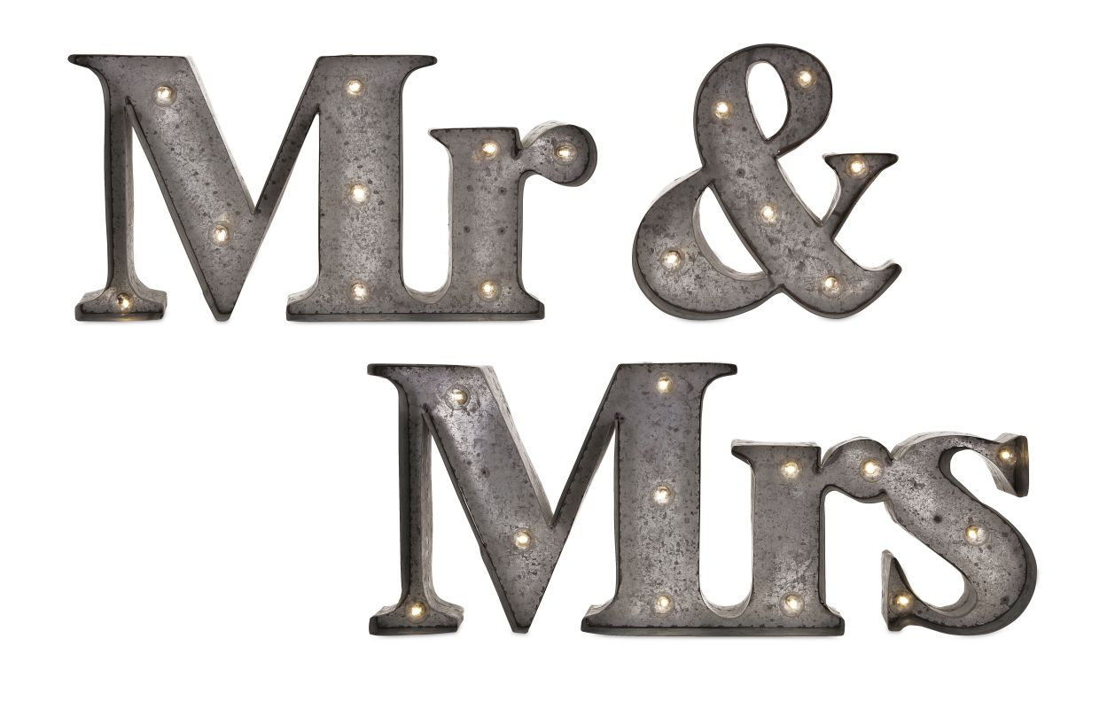 "IMAX Home 65357-3 29.75"" x 12.75"" Mr. & Mrs. Lighted Sign - Set of 3"