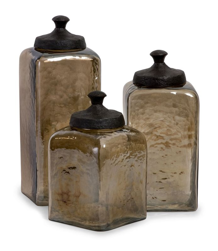 IMAX Home 6975-3 Square Brown Luster Canisters - Set of 3 Home