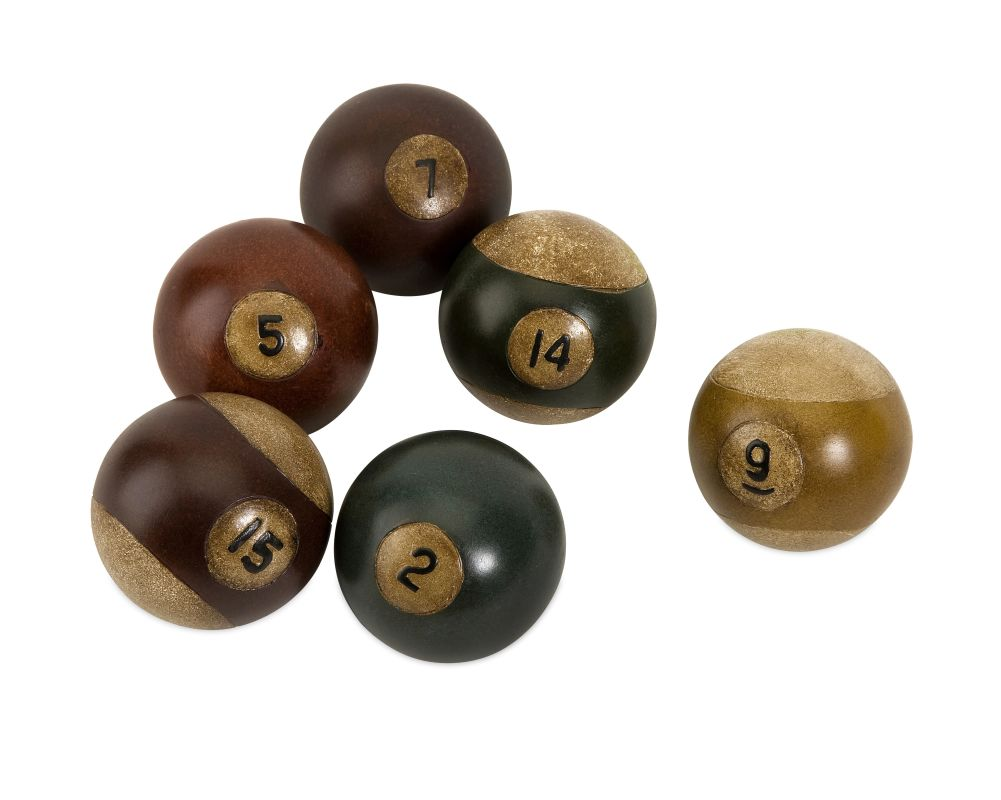 IMAX Home 70280-6 Antique Pool Balls - Set of 6 Home Decor Statues