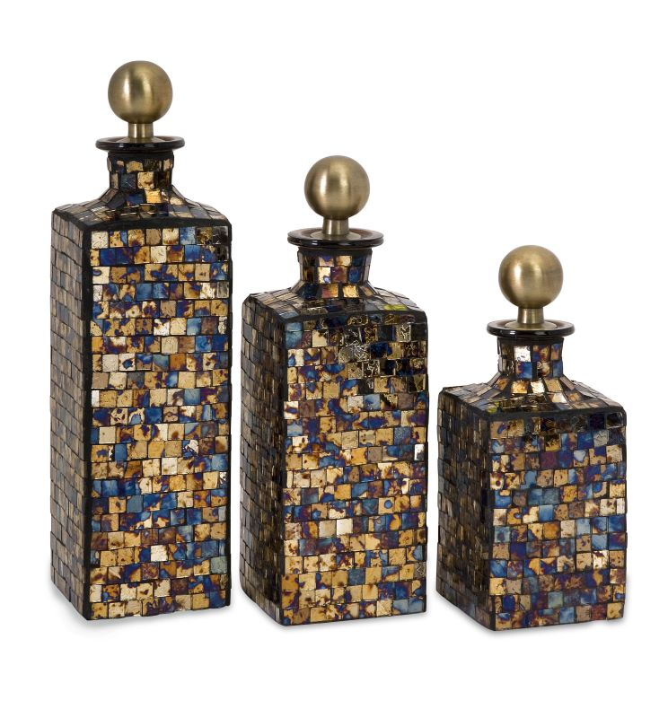 IMAX Home 71061-3 Moulin Mosaic Bottles - Set of 3 Home Decor