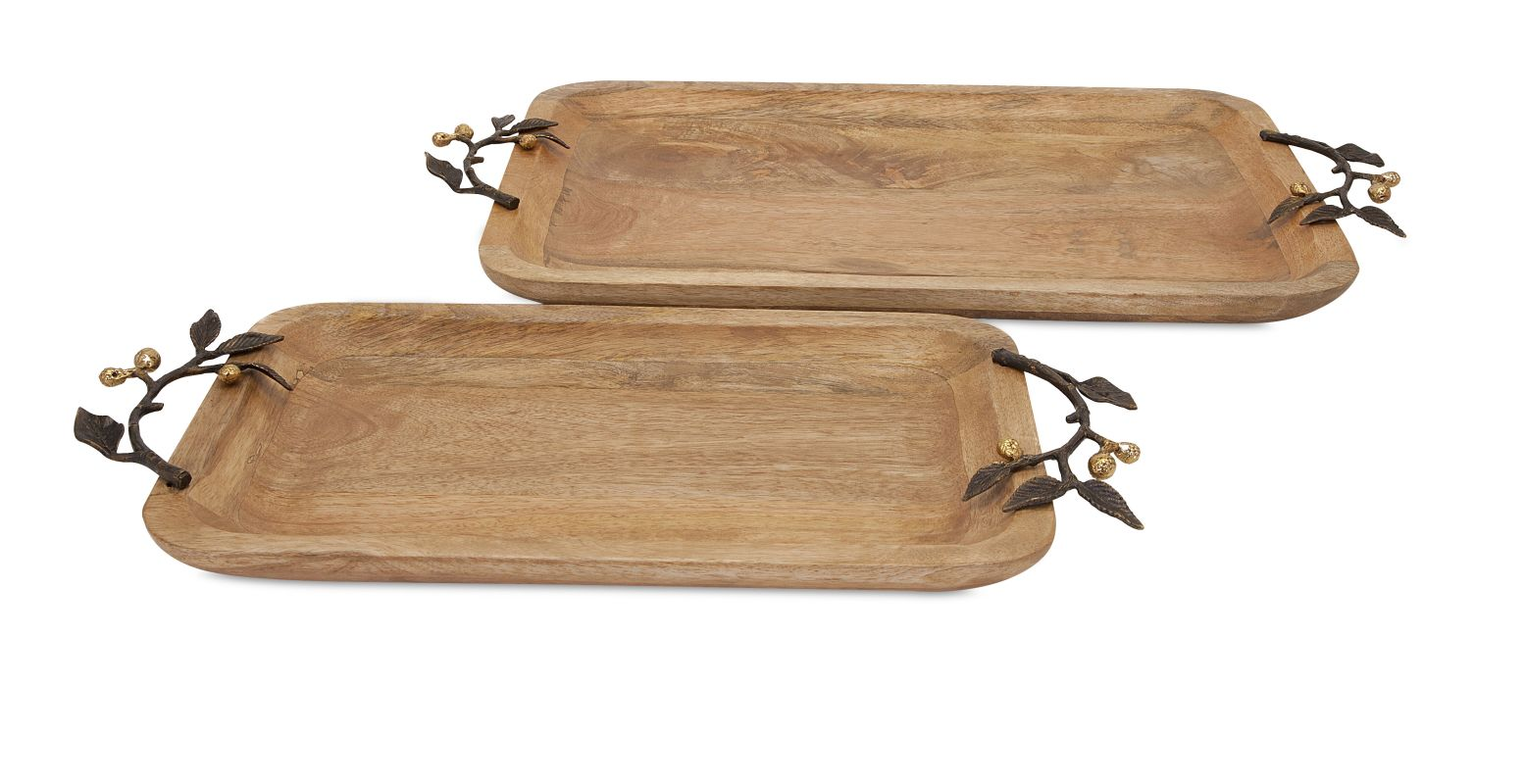 IMAX Home 71755-2 Victoria Trays with Brass Handles - Set of 2 N/A