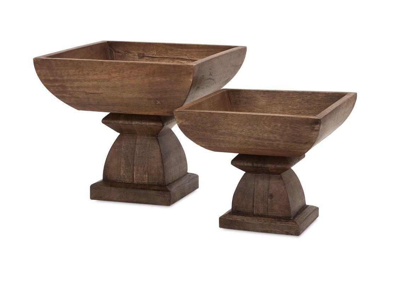 IMAX Home 73340-2 Julian Wood Pedestal Bowls - Set of 2 Home Decor