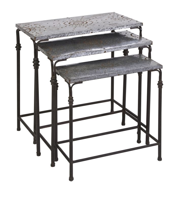 IMAX Home 74232-3 Gilbert Galvanized Nesting Tables - Set of 3 N/A
