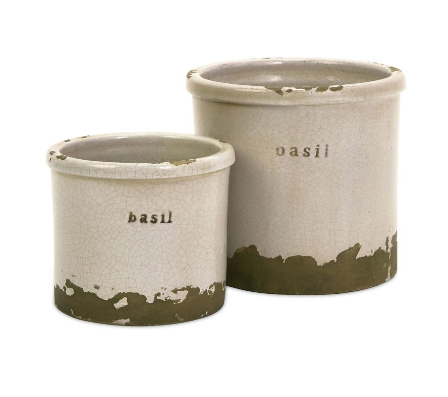 IMAX Home 76014-2 Basil Herb Pots - Set of 2 Home Decor Canisters
