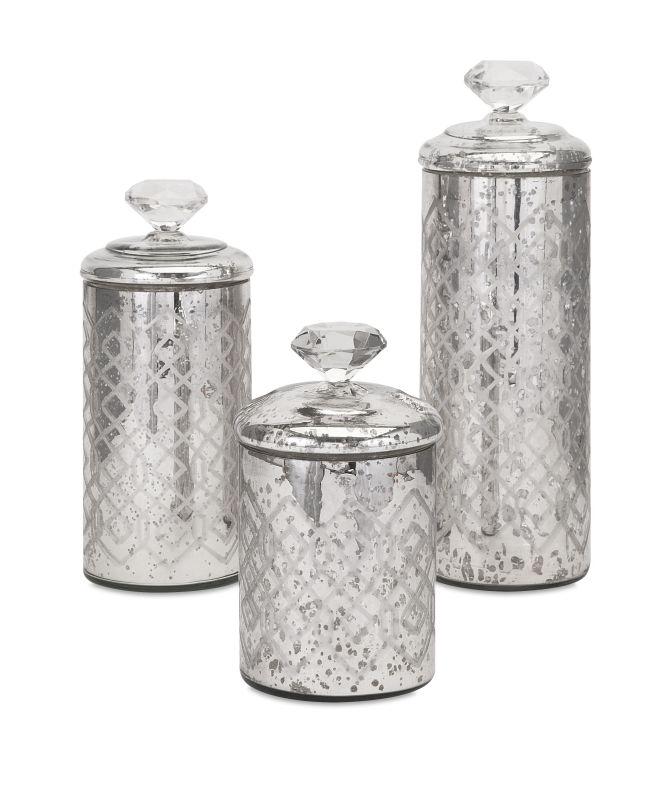 IMAX Home 84795-3 Nikki Chu Waldorf Mercury Glass Canisters - Set of 3