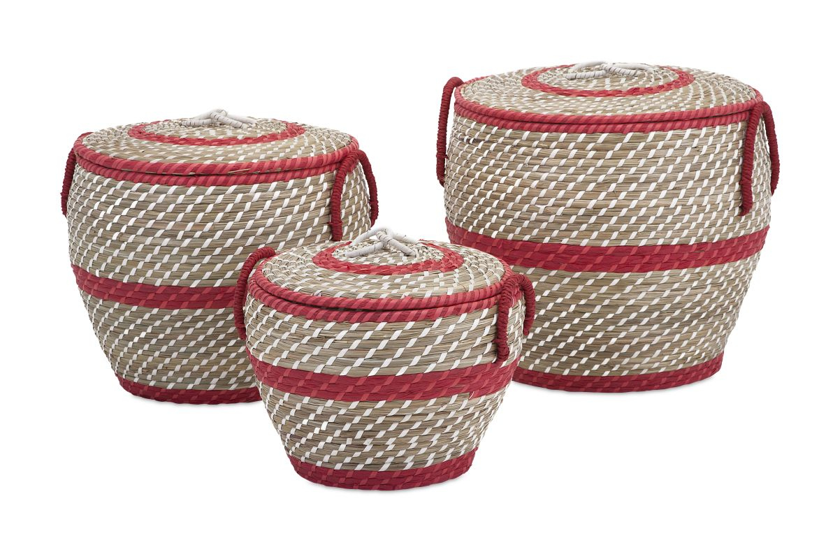 IMAX Home 85806-3 Lauren Lidded Baskets - Set of 3 Home Decor