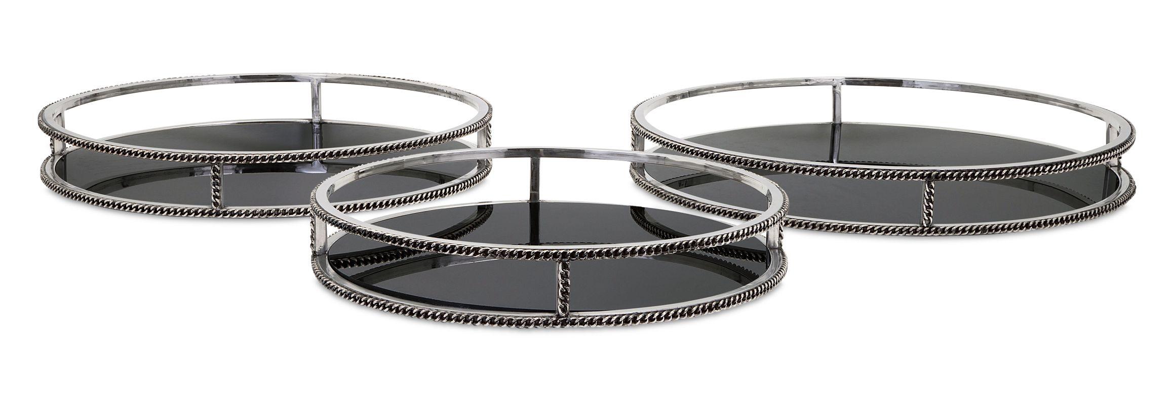 IMAX Home 86052-3 Nikki Chu Chain Trays - Set of 3 Home Decor