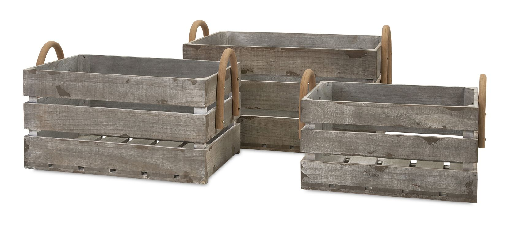 IMAX Home 86523-3 Cassie Wood Crates - Set of 3 Home Decor Boxes