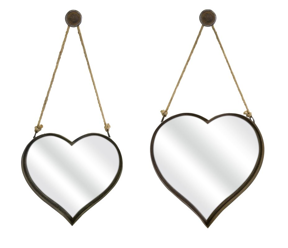 "IMAX Home 87402-2 20.25"" x 20"" Heart Shape Wall Mirror - Set of 2 N/A"
