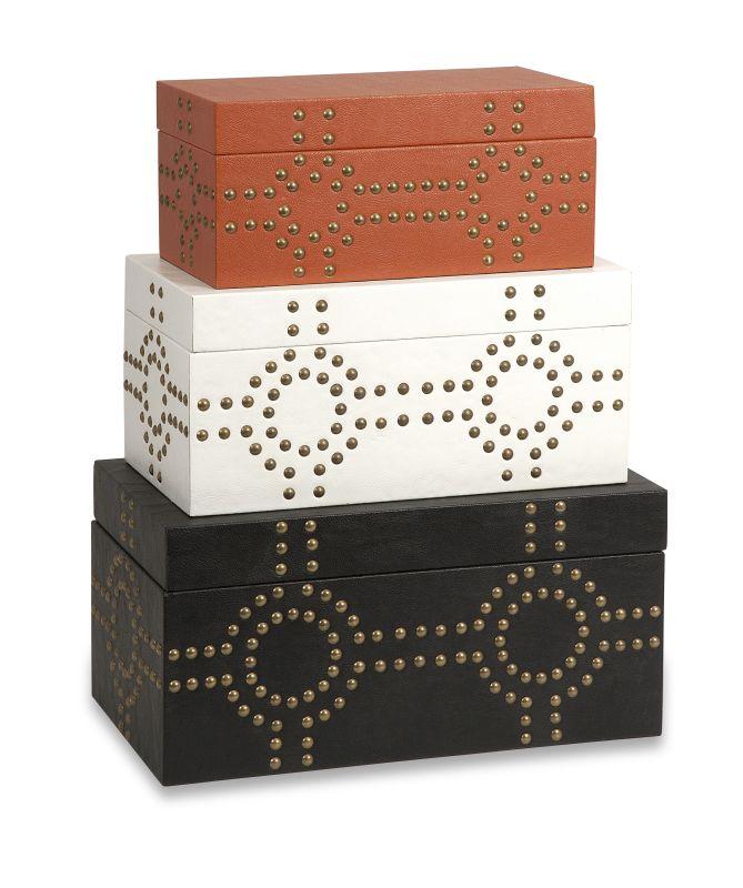 IMAX Home 87649-3 Jordan Studded Boxes - Set of 3 Home Decor Boxes
