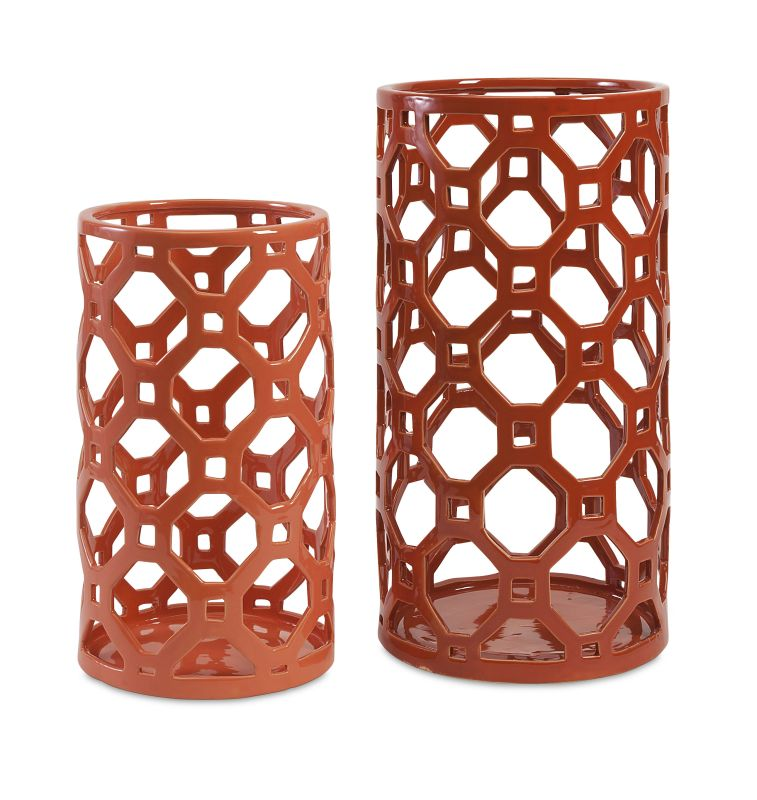 IMAX Home 87837-2 Archard Cutwork Ceramic Vase - Set Of 2 Home