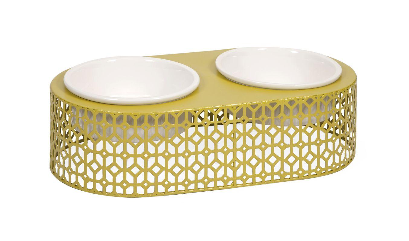 IMAX Home 88470 Lazio Metal Pet Feeder with Ceramic Bowls N/A