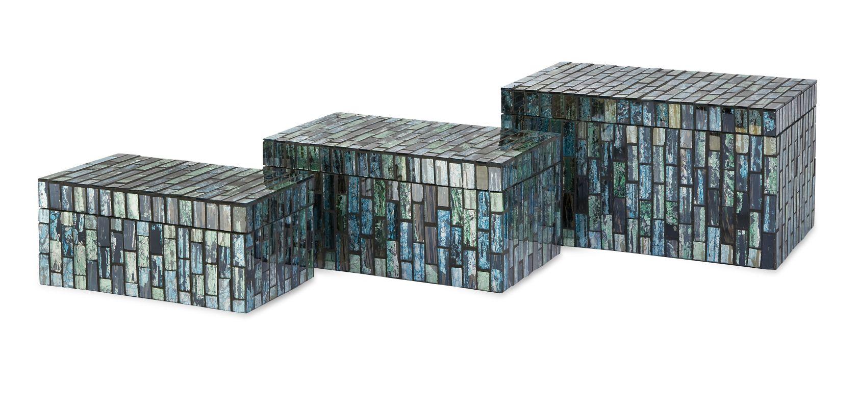 IMAX Home 96114-3 Aramis Mosaic Boxes - Set of 3 Home Decor Boxes
